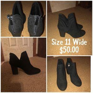 Size 11 wide black heeled booties